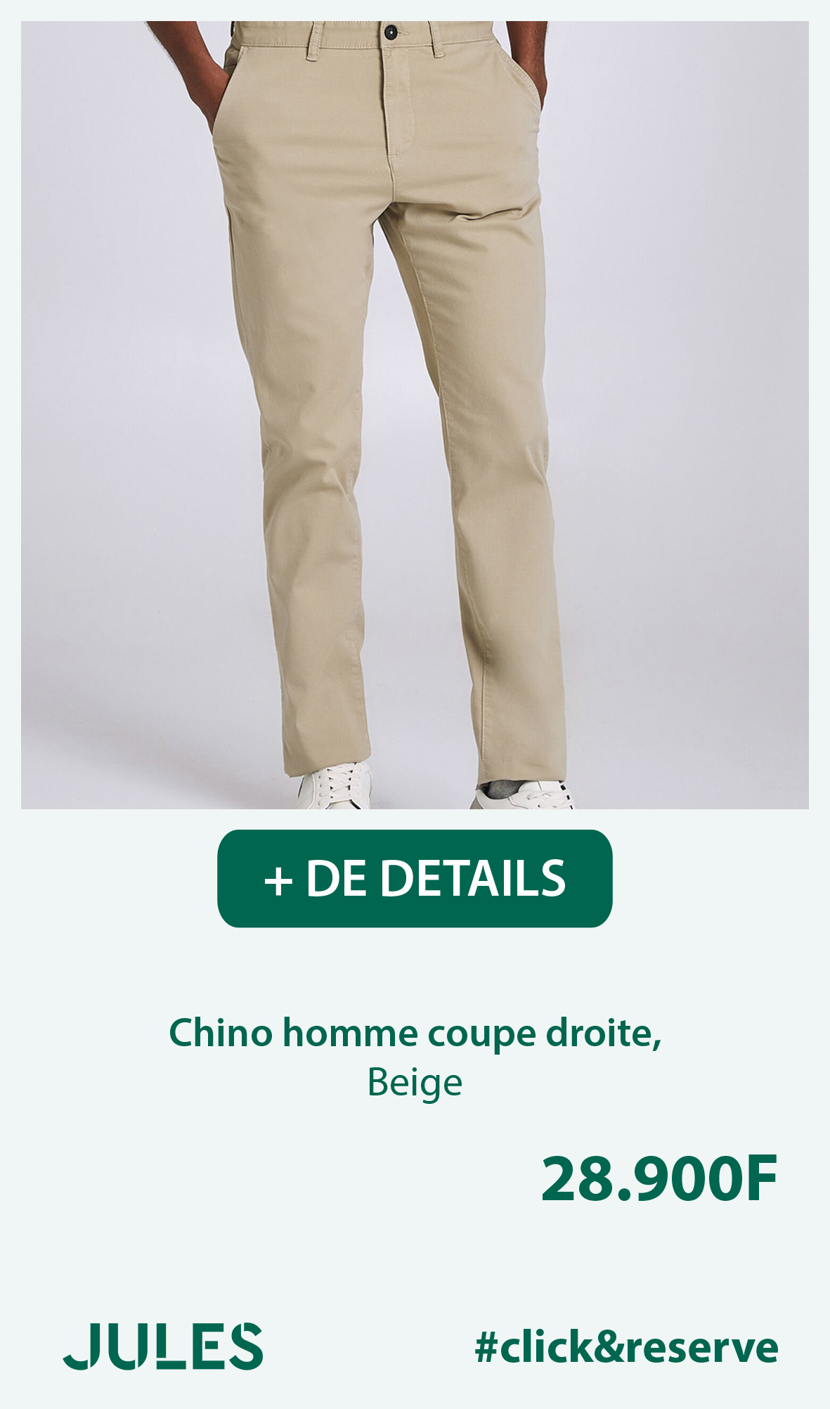 Chino homme coupe droite, Beige