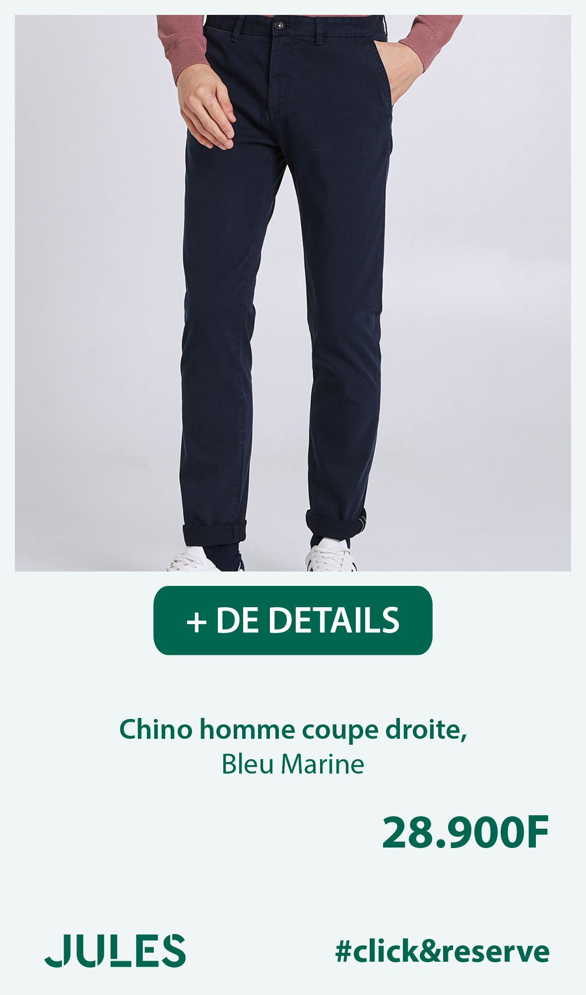 Chino homme coupe droite, Bleu Marine
