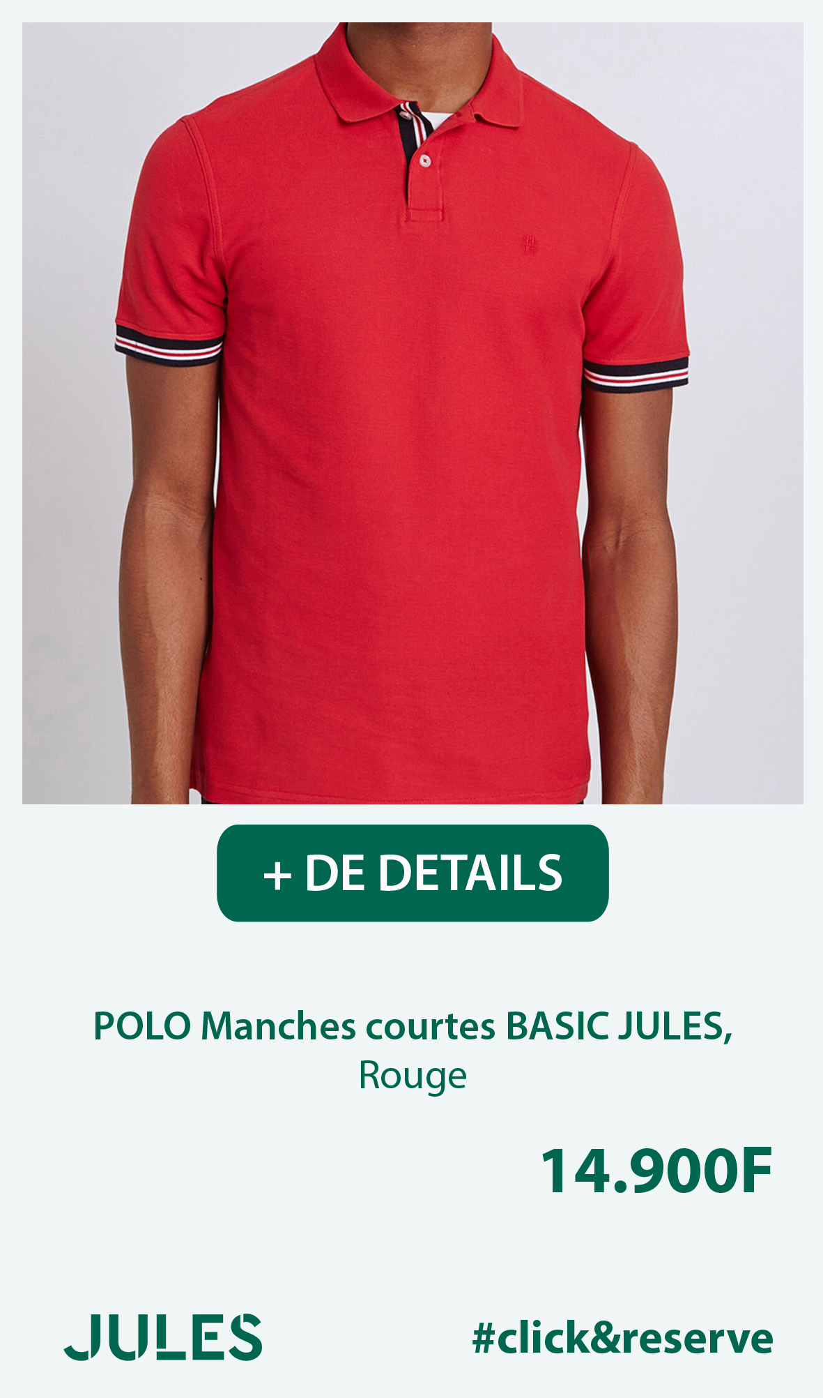 POLO Manches courtes BASIC JULES, Rouge