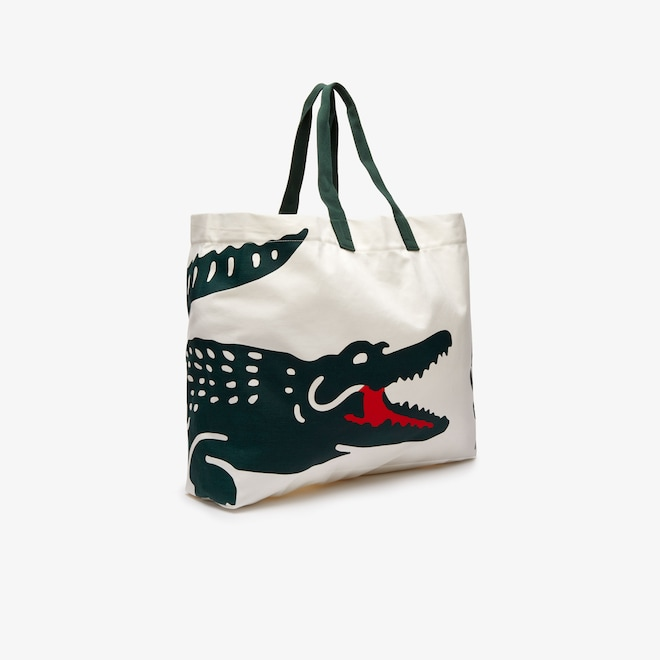 Grand tote bag en coton imprimé crocodile