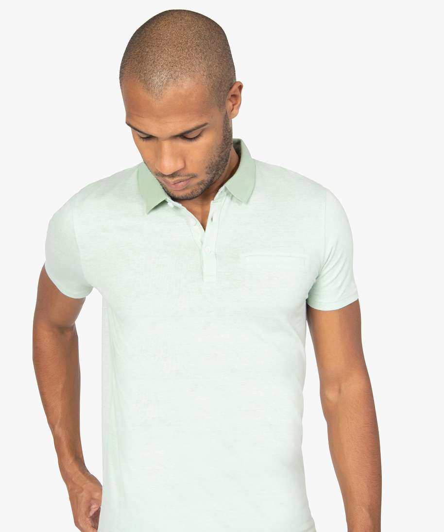 POLO HOMME A MANCHES COURTES A FINES RAYURES VERT
