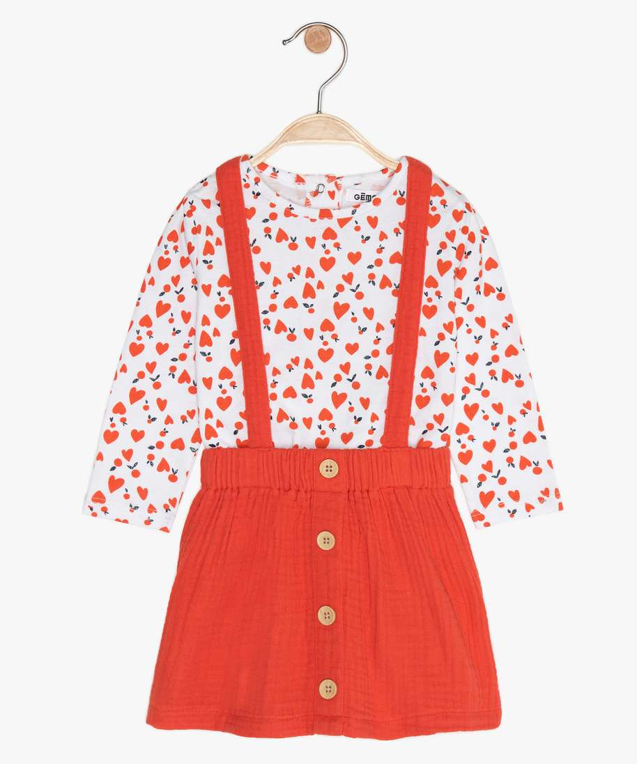 ENSEMBLE BEBE FILLE 2 PIECES ROBE TEE-SHIRT A MANCHES LONGUES ROUGE